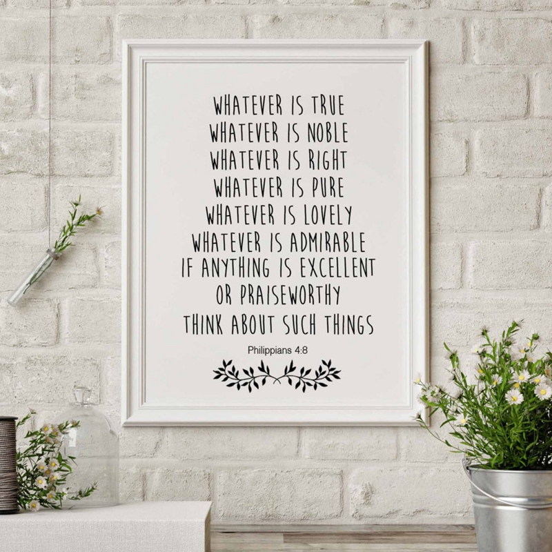Bible Verse Print Christian Wall Decor Bible Quote Canvas Painting Poster Living Room / Bedroom Modern Home Decoration image