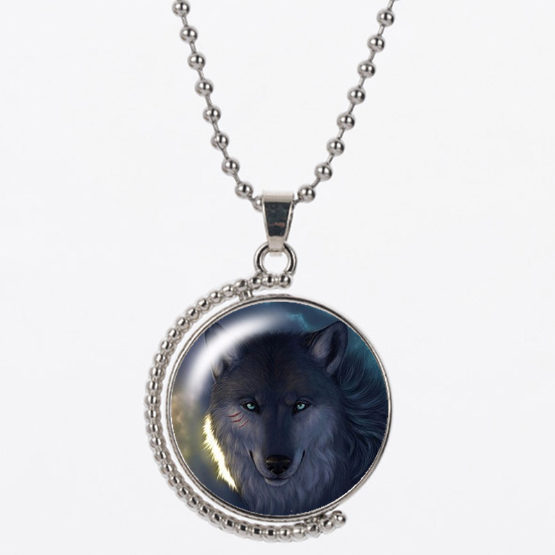 CAB1 wolf pattern resin pendant round shpae send with bag and 925 silver chain for women and man