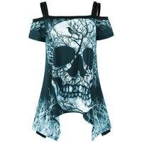 Skull Head Print T Shirts 2017 Punk Women Summer 3D Off Shoulder Tops Tees Straps Female