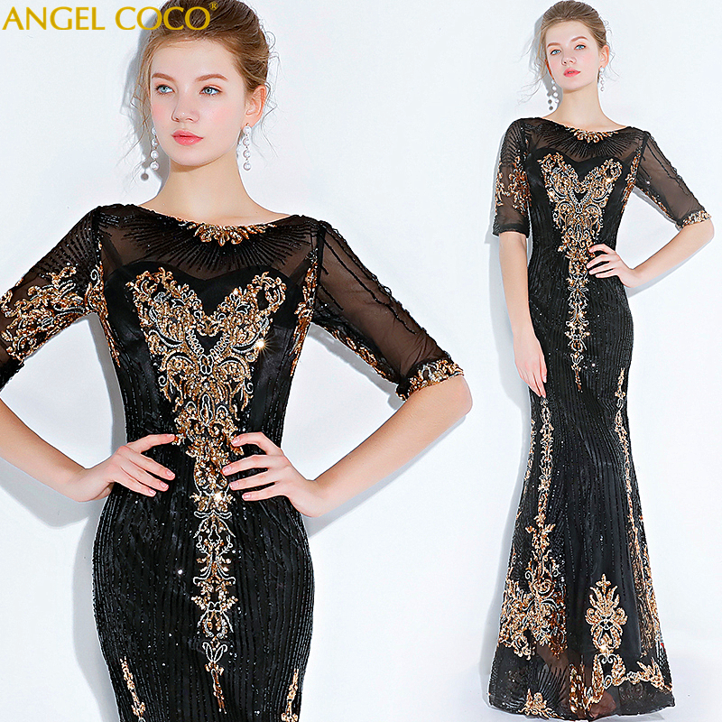 Robe de soirée noire longue étincelle jamais jolie femmes élégante Robe de sirène Sequin Robe de soirée Robe de soirée Avondjurk