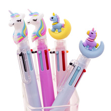 1 Pcs Cute Cartoon Unicorn Owl Pony Cat Claw Piggy 6 Color Ballpoint Pen Solid Color Ball Pens Writing Stationery Office School