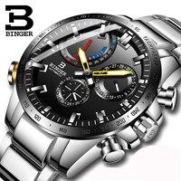 Relojes de marca de lujo para hombre  reloj BINGER suizo  reloj mecánico automático para hombre  zafiro  BS03-1 de visualización de energía a prueba de agua