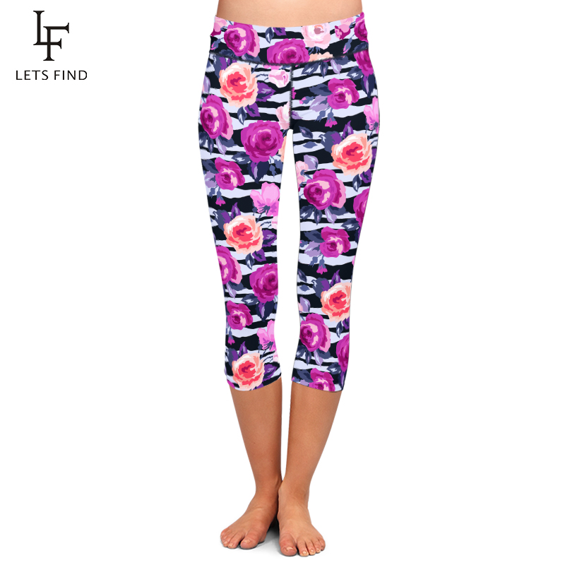 LETSFIND Summer Hot Women 3D Colorful Flowers Print Mid-Calf Leggings High Waist Fashion Women Fitness Capri Leggings