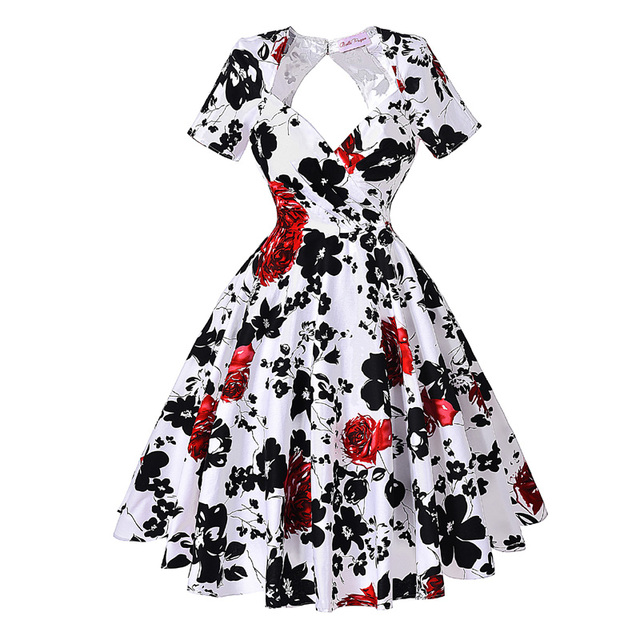 408947352a7 Belle Poque Vintage Dress 50s 60s A-Line Rose Print Short Sleeve Knee-Length  Robe Women Elegant Casual Swing Party Work Dresses