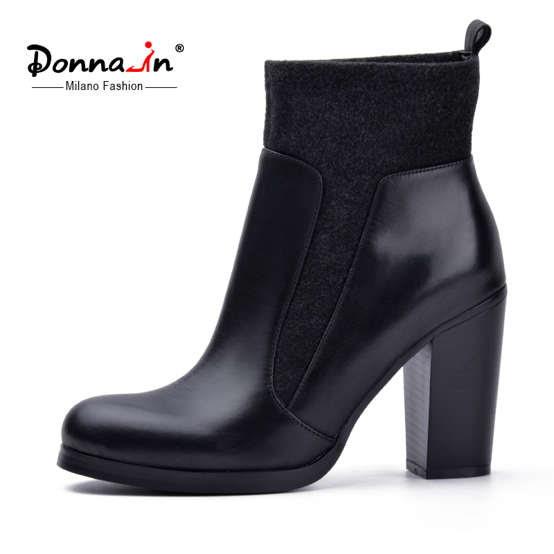 Donna-in autumn new collection stretch wool Chelsea boots super high heel genuine leather women shoes thick heel ankle boots 2017 new women s genuine leather boots motorcycle boots rough with in tube high heeled boots thick wool really pima ding