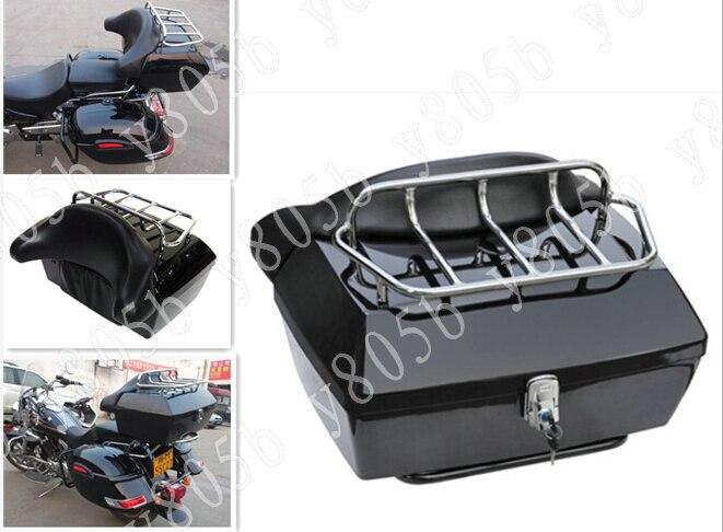 Hartig Motorfiets Kofferbak Staart Doos Bagage Met Top Rack Rugleuning Voor Honda Shadow Ace Steed Vlx 400 600 1100 Dlx Vtx1300 1800 Magna Vf
