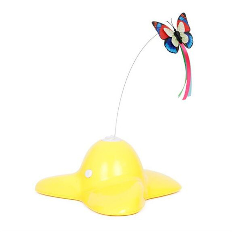 Electric pet cat toy rotation colorful butterfly flying for Best motorized cat toys