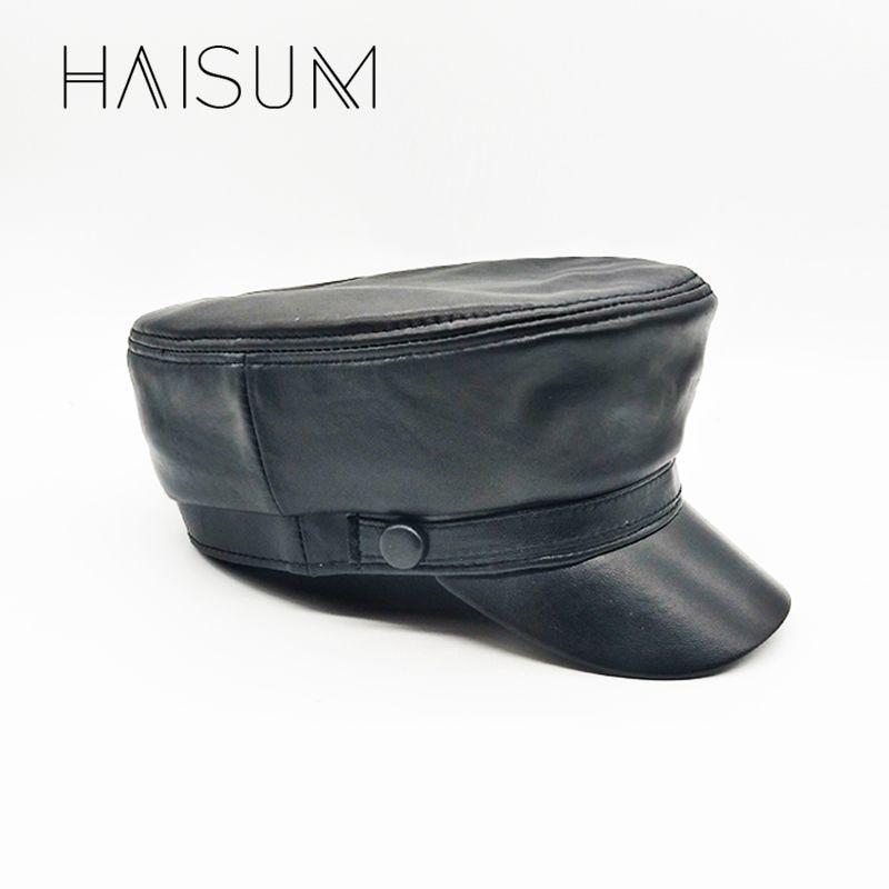 2018 Adult Unisex Gorras Haisum Genuine Lambskin Leather Man's Cap Woman's Handsome Military Hats Caps Wholesale Price Cs43