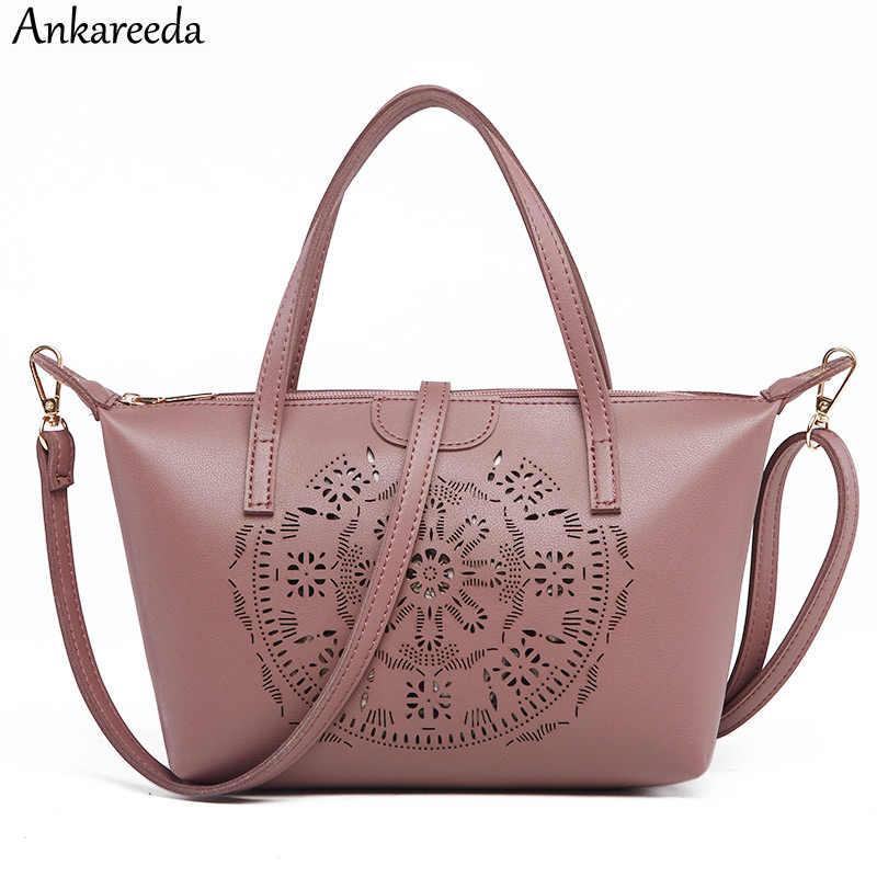 d7b62af2150d Ankareeda New 2018 Fashion Small Bag Hollow Out Women Crossbody Bag Soft  Leather Handbags Women Clutch