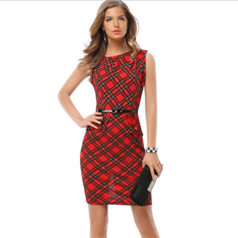 красное клетчатое платье для офиса сарафан женский летний платье женское нарядное платья больших размеров платье с запахом летние платья и сарафаны бандажное платье с поясом платье комбинация женская одежда летняя H766
