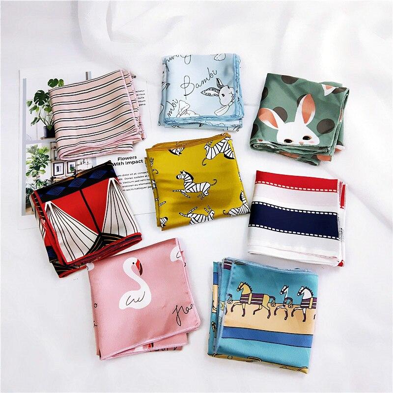Harajuku Small Square Satin   Scarf   Cartoon Animal Print Neckerchief   Scarf   Foulard Femme Elegant Women   Wrap   Handkerchief Bandana