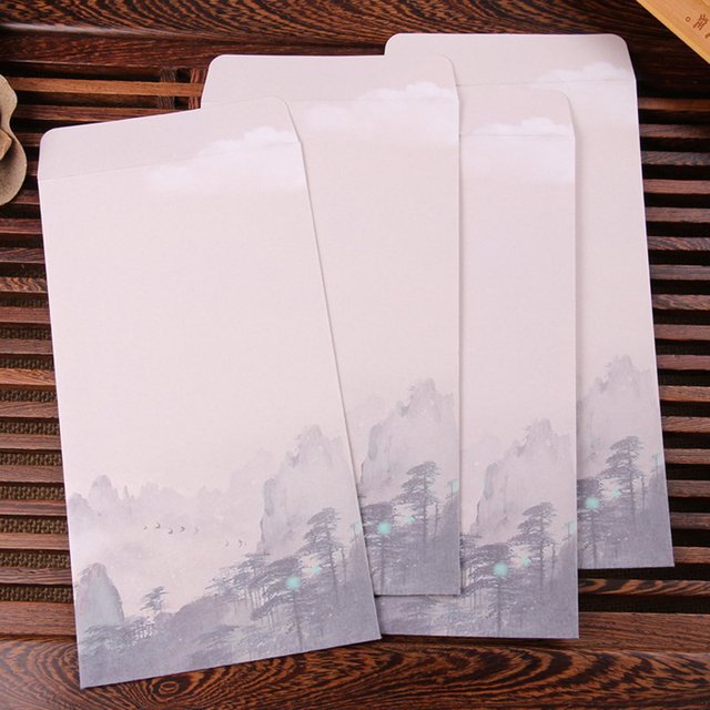 10pcs lot chinese style business envelope flower printed craft paper