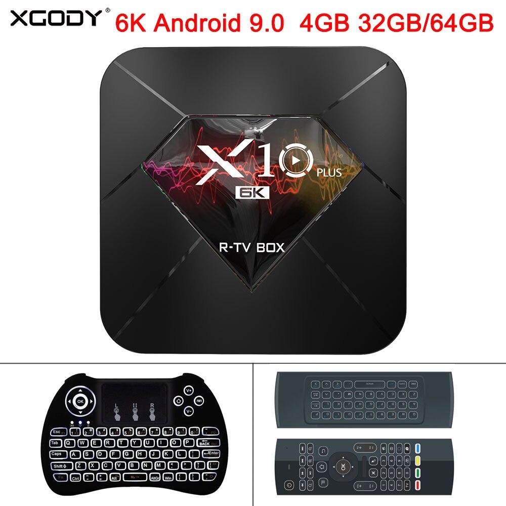 XGODY 2019X10 Plus 6K Android 9.0 Smart TV Box Allwinner H6 Quad Core 4GB 32GB 64GB 2.4Ghz Wifi USB 3.0 H.265 boîtier de lecteur multimédia