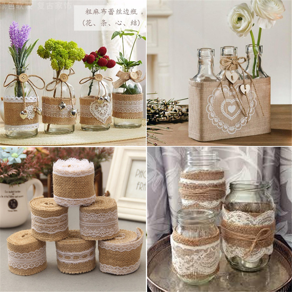 HOT 2Meters/Lot 5cm Jute Burlap Rolls Ribbon With Lace 5 Styles Rustic Vintage Wedding Party Dance DIY Decoration Supplies
