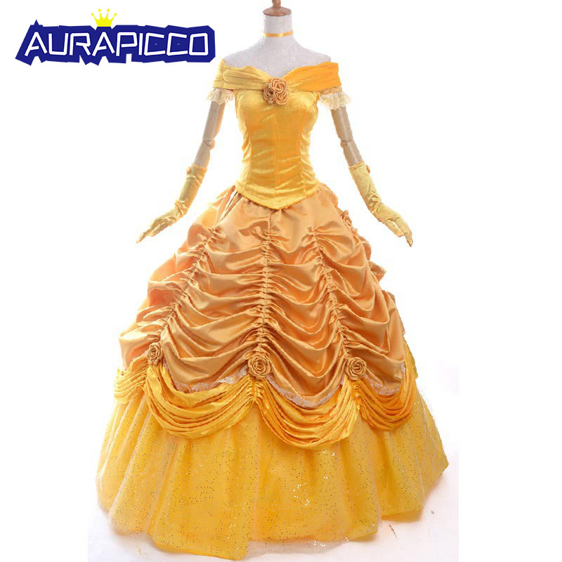 Adult Princess Belle Costume Beauty and the Beast Cosplay Halloween Party Prom Ball Gown Women  Princess Dress Plus Size Custom