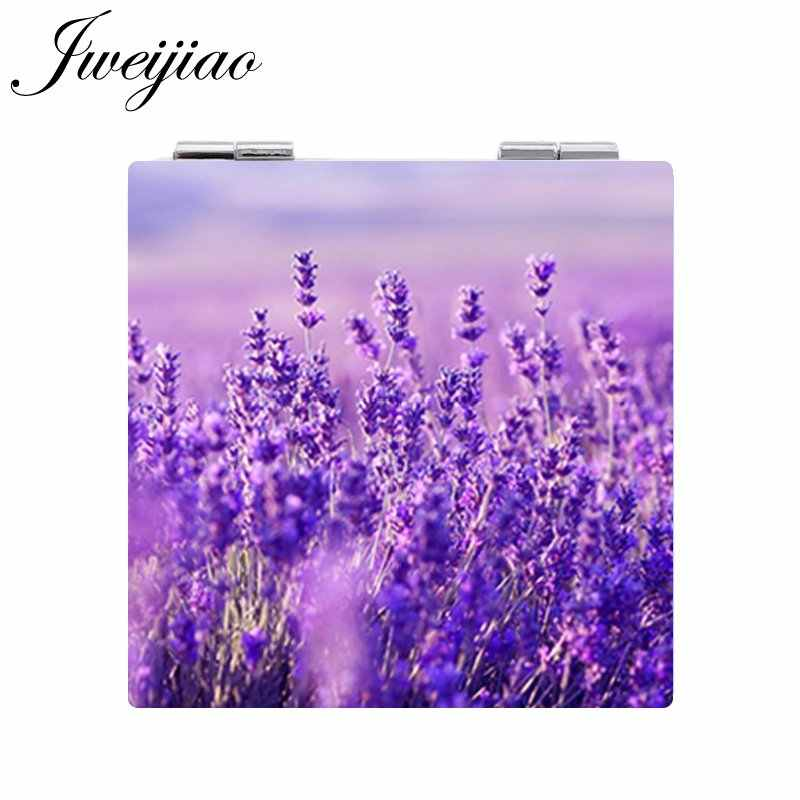 JWEIJIAO Lavender Purple Flowers Makeup Mirror Mini Folding Square 1X/2X Magnifying PU Leather Pocket Mirror girls Beauty Tools
