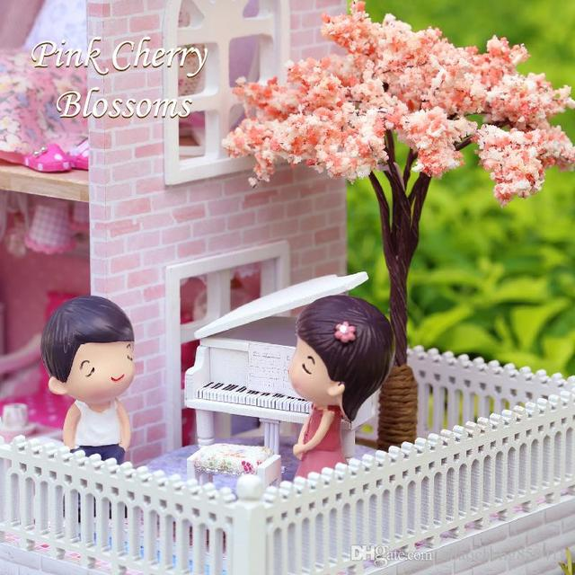 Gifts New Brand DIY Doll Houses Wooden Doll House Unisex dollhouse Kids Toy Furniture Miniature crafts free shipping A036