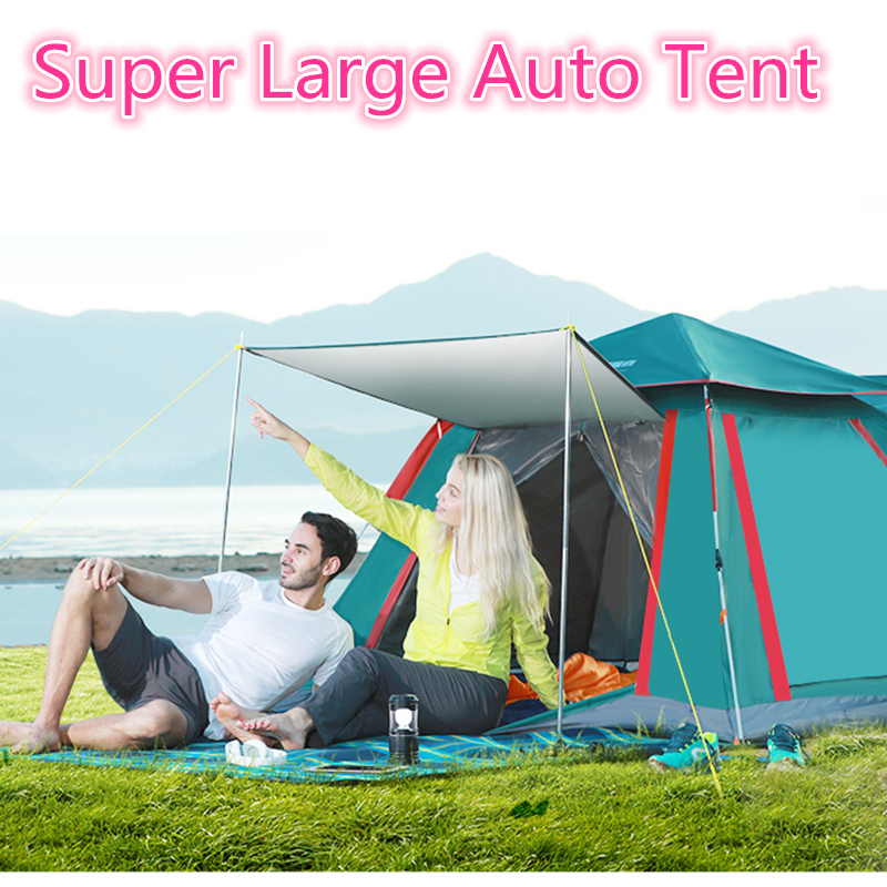 4-6 Person 215X215X142cm Auto Camping large Urltra-Light Beach Tent Fishing Hiking Rainproof UV-proof Family travel big tents 5 6 person huge 2 layer automatic rainproof sunshade shelter hiking travel fishing beach family awning outdoor camping tent