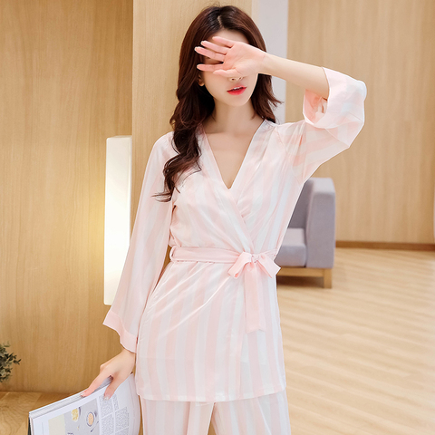 Women Robe Gown Sets Female Stripe Trousers Of Condole Belt Homewear Top Grade four-piece Sleep & Lounge Robe Gown Sets Multan
