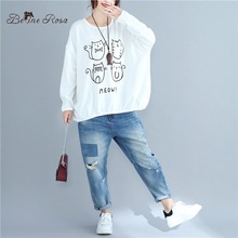 Casual Women Clothes Kawaii Print Cute Cat Loose Hoodies Large Size Autumn Women Pullovers