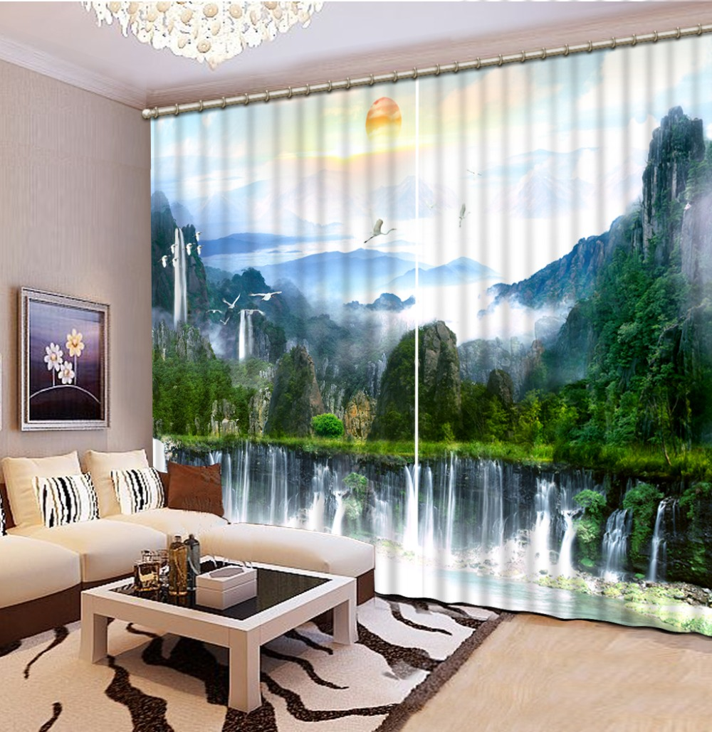 waterfall curtains High quality custom 3d curtain fabric 3d Curtains Blackout for Living Room Kids Bedroom Fabric