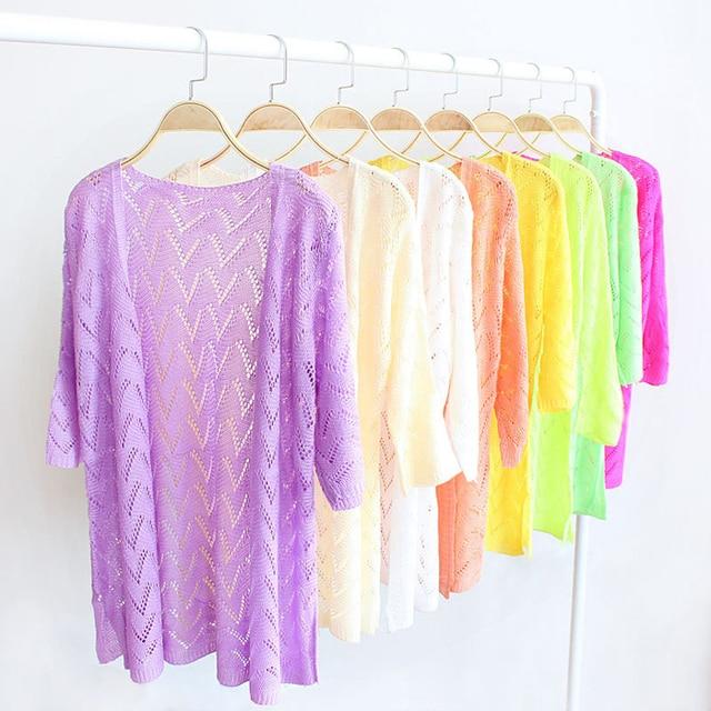 Plus Size Knit Crochet Geometric Hollow Out Spring Jacket Women 11 Colors Women Cardigan Three Quarter Summer Spring Coat J35
