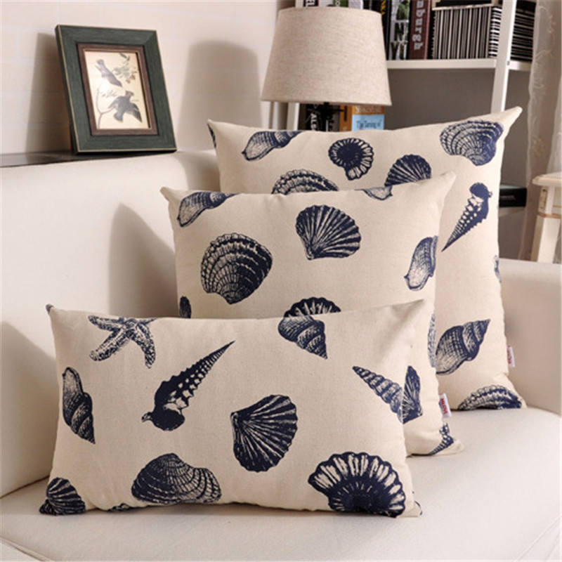 45x45cm /30x45cm /60x60cm Cotton Linen Throw Pillow Case Blue Seashell Conch Pattern Sofa Cushion Cover Car Home Decor