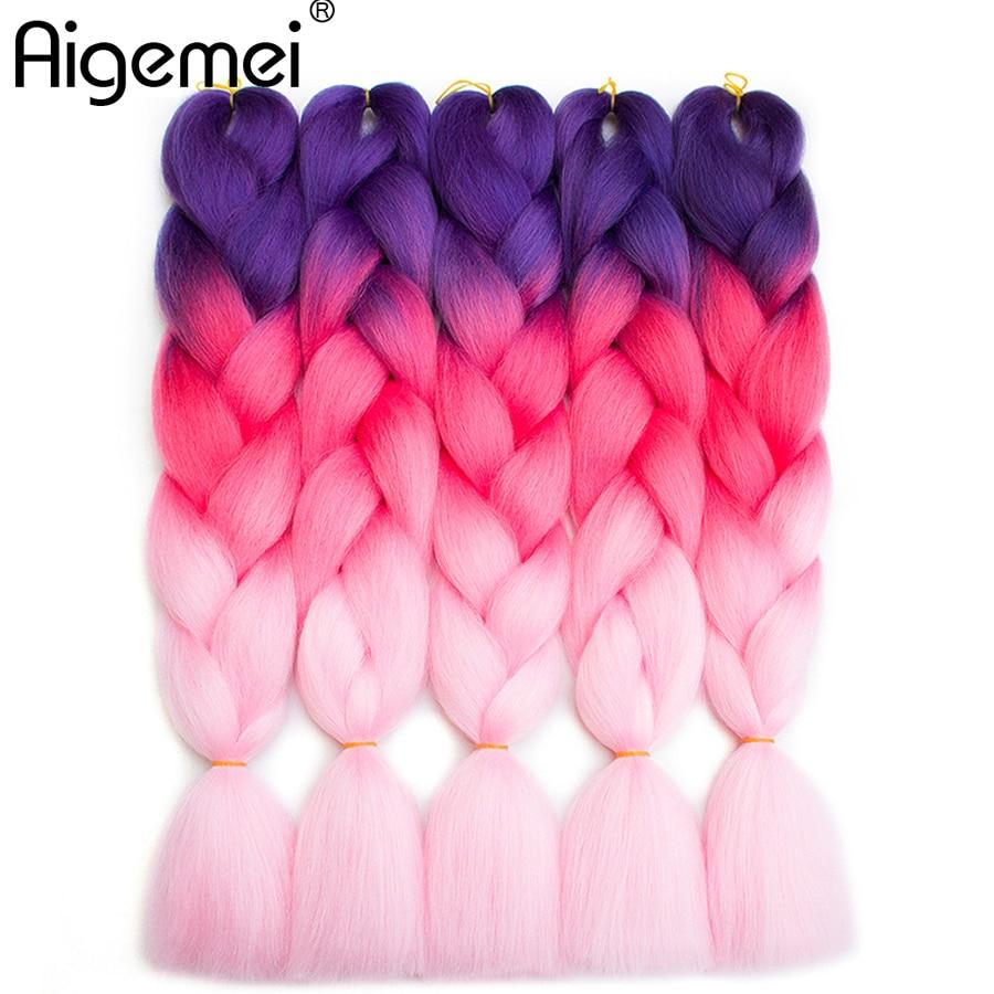 Aigemei Ombre Braiding Hårförlängningar Syntetisk Kanekalon Fiber - Syntetiskt hår