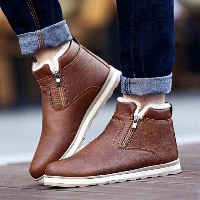 SAGACE Erkekler Kışlık Sıcak Botlar rahat ayakkabılar Erkekler Moda Peluş Kar Botları yarım çizmeler Kürk Deri Ayakkabı botas Size39-44
