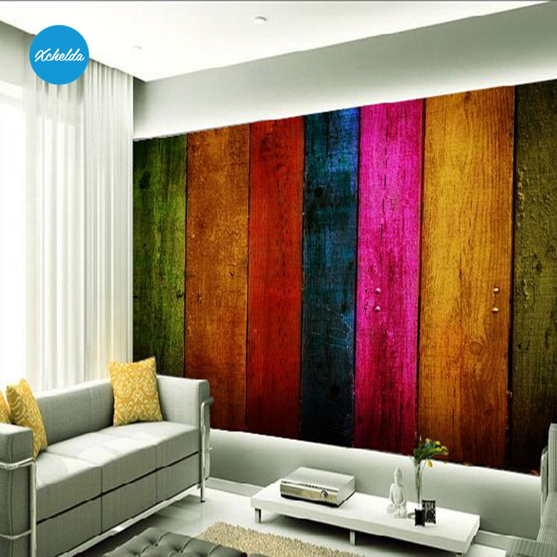 XCHELDA 3D Mural Wallpapers Custom Painting Colorful Wood Design Background Bedroom Living Room Wall Murals Papel De Parede custom 3d wall murals wallpaper luxury silk diamond home decoration wall art mural painting living room bedroom papel de parede