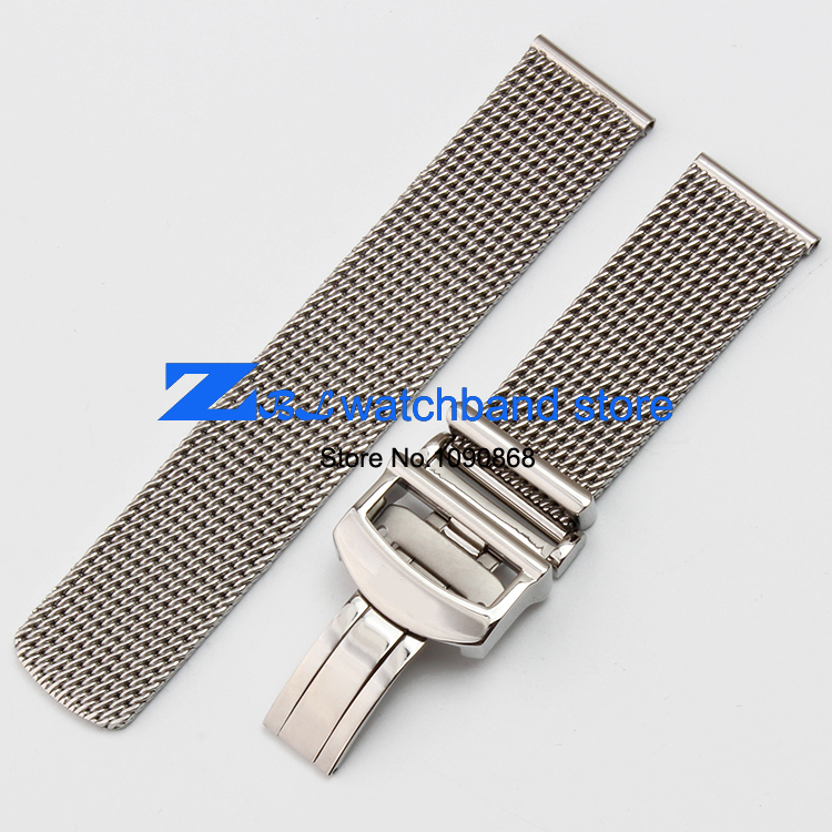 High Quality thick Stainless steel Watchband  Mesh steel strap silver width 20mm mesh bracelet watch accessories