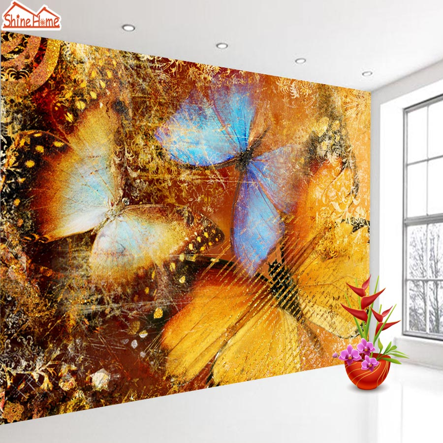 ShineHome-Butterfly Leaf Animal Art Non Woven 3d Wallpaper Wallpapers Walls Murals for 3 d Living Room Home Roll Wall Paper shinehome lamp bulb in water art 3d wallpaper wallpapers photo walls murals for 3 d living room still life home roll wall paper