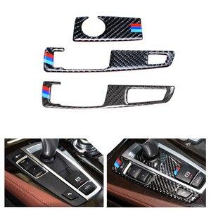 1PC Real Carbon Fiber Center Gear Shift Panel Frame Gear Knob Cover Trim for BMW 5 Series GT X3 X4 F07 F10 F25 F26