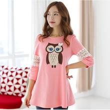 Summer Maternity Blouse Tops Fashion One-piece Owl Pregnancy Dress Nursing Maternity Clothes For Pregnant Women Gravida Vestidos