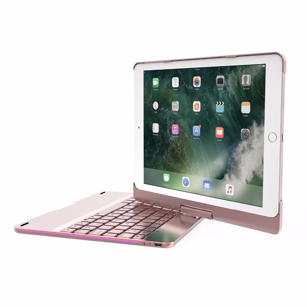 Беспроводной Bluetooth Алюминий клавиатура чехол для IPAD Air 1 2 PRO 9,7 10,5 дюймов 360 градусов клавиатура 7 цвет подсветкой Folio Cover
