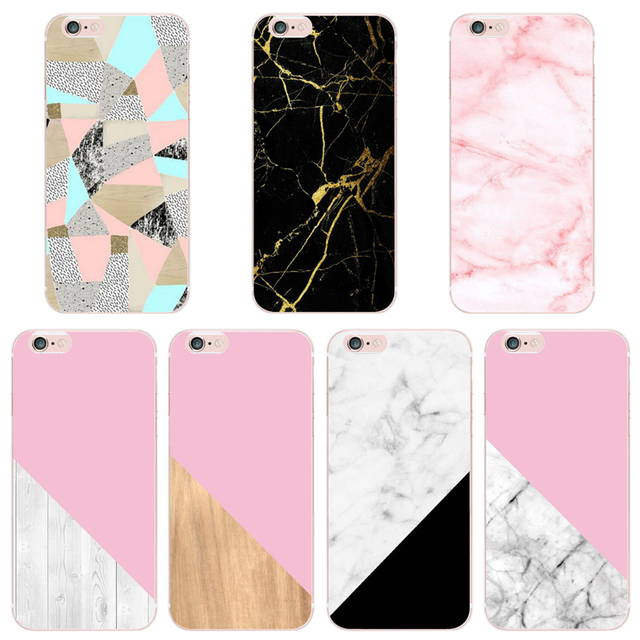 FOR IPHONE 6 CASE HOT Marble Wood Painted Soft TPU Case For iphone 4 5 5s 6s 6plus 7 7plus 8 8plus XSamsung galaxy s6 s7 s7edge
