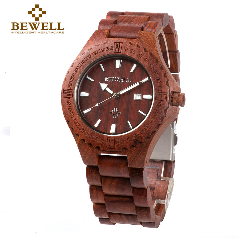 BEWELL 023A 44mm Dial diameter Handmade Nature Wood Watch Men Analog Japan Movement Quartz Wristwatches Auto Date Luminous Hand стоимость