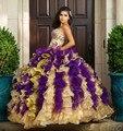 Hot 2016 Ouro E Roxo Vestidos Quinceanera vestido de Baile Com Bordado Beads Doce 16 Dresses Vestidos De 15 Años Baile Vestidos B23