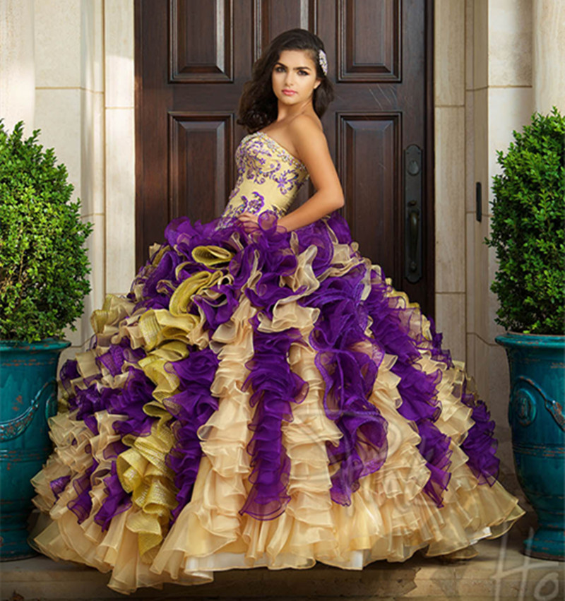 Popular Quinceanera Dresses Purple and Gold-Buy Cheap Quinceanera ...