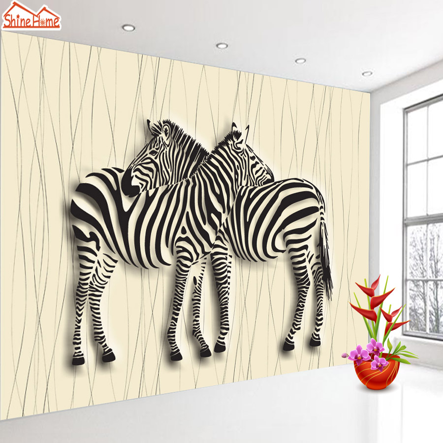 ShineHome-Black and White Zebra Strips Wallpaper 3d Photo Rolls for Walls 3 d Livingroom Wallpapers Mural Roll Paper Background shinehome red van gogh almond blossom painting wallpaper rolls for 3d walls wallpapers for 3 d living rooms wall paper murals