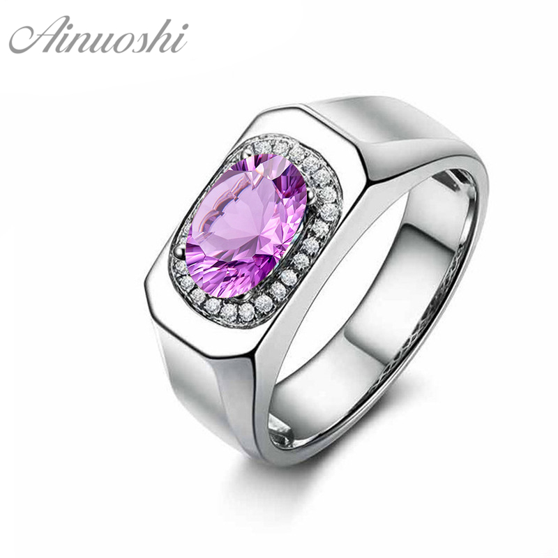 AINUOSHI Natural Amethyst Halo Ring 925 Sterling Silver Watch-Shaped Ring 1.25ct Oval Cut Gemstone Engagement Jewelry Women RingAINUOSHI Natural Amethyst Halo Ring 925 Sterling Silver Watch-Shaped Ring 1.25ct Oval Cut Gemstone Engagement Jewelry Women Ring