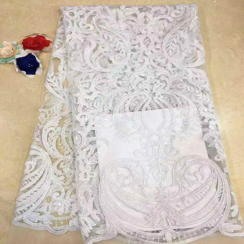White African Lace Fabric High Quality Nigerian French Tulle Lace Swiss voile Mesh Lace Fabrics 5