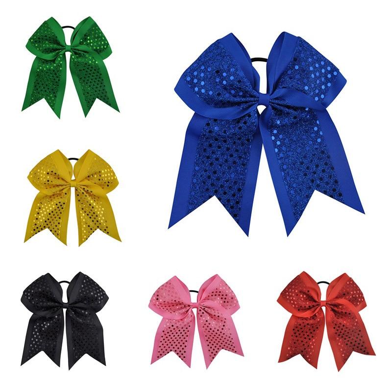 "6PCS / Lot 8 ""Big Sequin Girls Cheerleading Bow s elastickým pásem Grosgrain stuha vlasy Bow Bow pro držitele Ponytail"