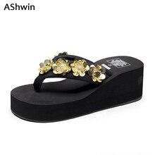 AShwin sweet summer sandals gliiter flip flops wedge platform shiny sandal women handmade flower shoes holidays beach shoes