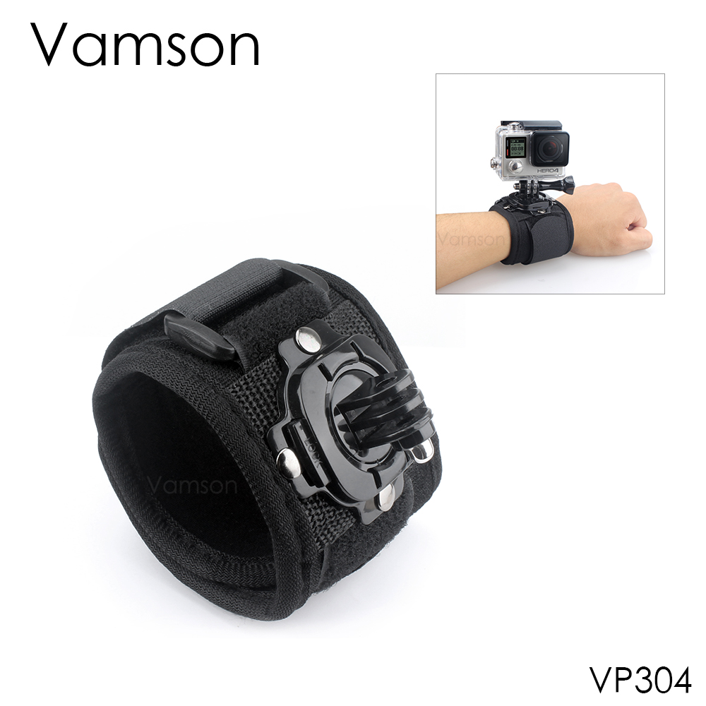 Vamson for GoPro Accessories 360 Degree Rotation Hand Strap Wrist Mount For Gopro Hero 4 3+ 2 1 forSJCAM for Xiaomi for Yi VP304 dazzne dz 305 diving wrist strap for gopro hero 3 3 2 1 camera