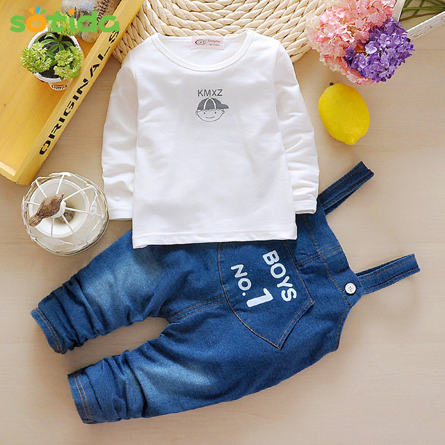 2016 New Autumn baby boys and Girls sets clothes Cartoon Kids Clothes Fashion T-shirt+Suspender Jeans Fashion Kids clothing set