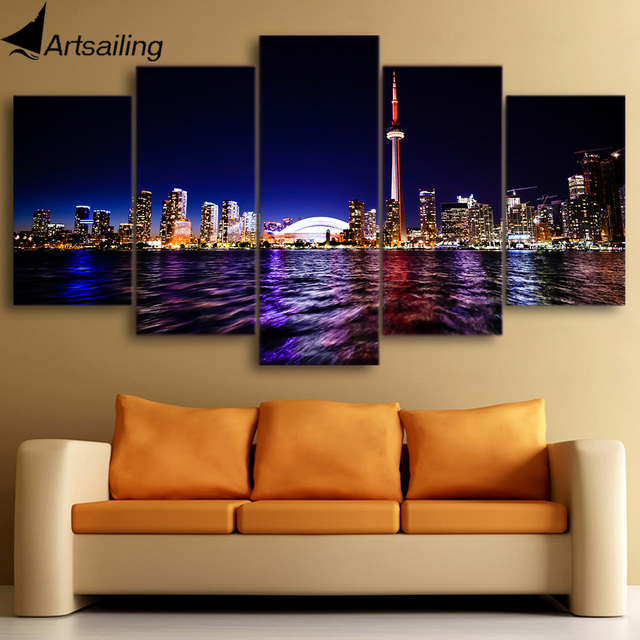 Canvas Painting Printed 5 Pieces Downtown Toronto City Wall Art Pictures For Living Room Bedroom