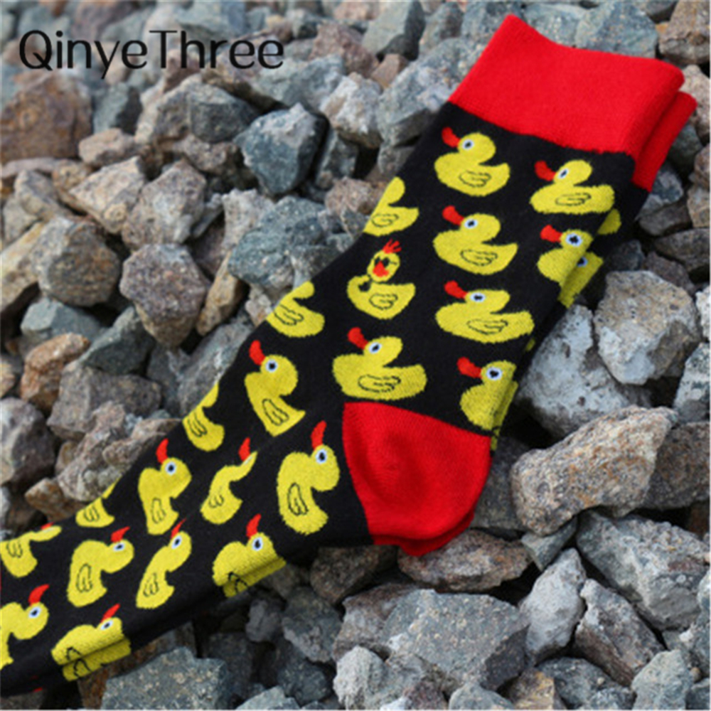 Men Cartoon Hip Hop Cool yellow duck   socks   Cotton Skateboard   Sock   Art Funny   Socks   personality tide pet elf sox Casual for lovers