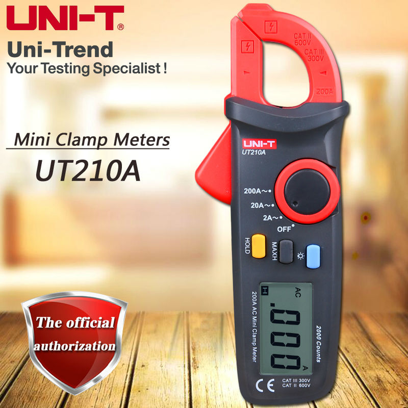 UNI-T UT210A Single AC 200A Mini Clamp Meter, Ammeter / Auto Power Off / LCD Backlight / Digital Hold