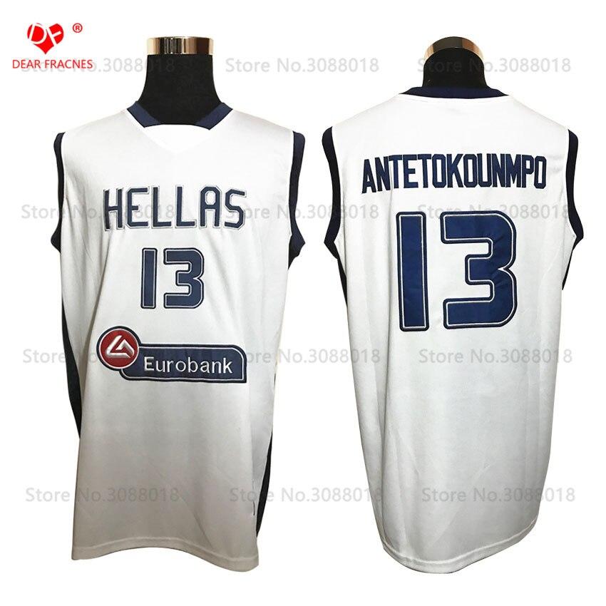 Top Hellas Greece Team #13 Giannis Antetokounmpo Jersey Throwback Basketball Jersey Vintage Retro Basket Shirt For Men Stitched все цены